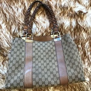 Gucci GG Canvas Bamboo Bar Tote Bag AUTHENTIC